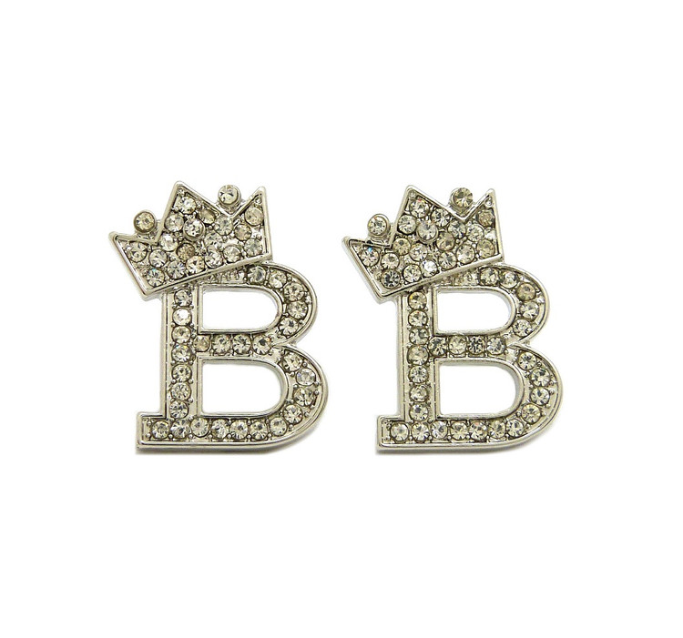 Initial B Iced Out Earrings