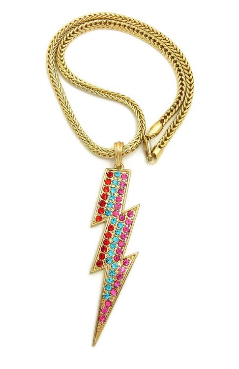 Rainbow Lightning Bolt Necklace