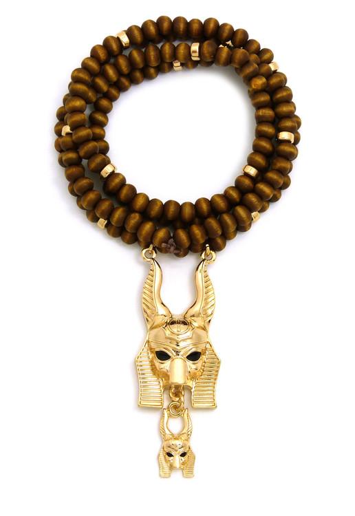 God Anubis 14k Gold Wooden Bead African Egyptian Chain Pendant