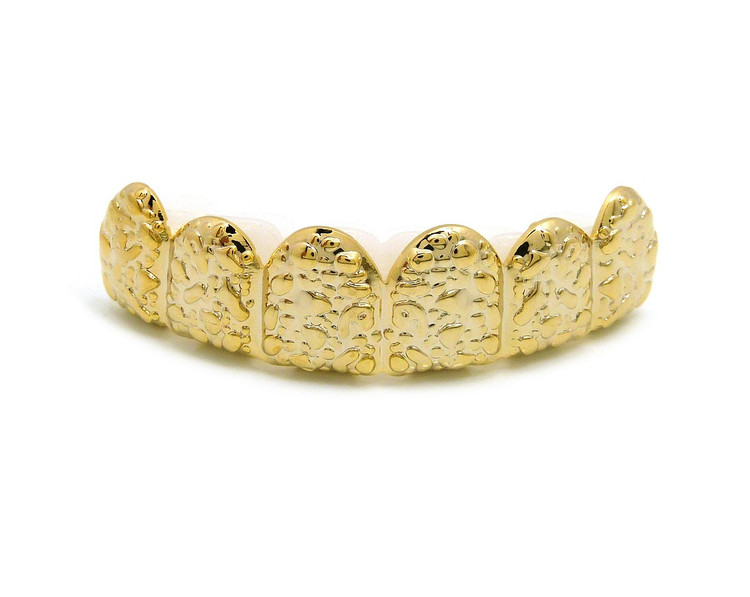 Gold Rush Nugget 14k Gold Custom Top 6 Teeth Hip Hop Grillz