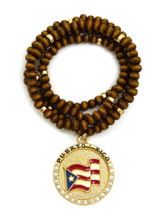 Puerto Rican Flag Brown Wooden Chain Pendant