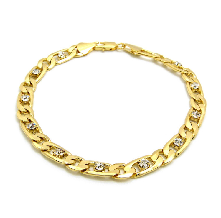 14k Gold 8mm 10 Inch Iced Out Figaro Link Ankle Bracelet