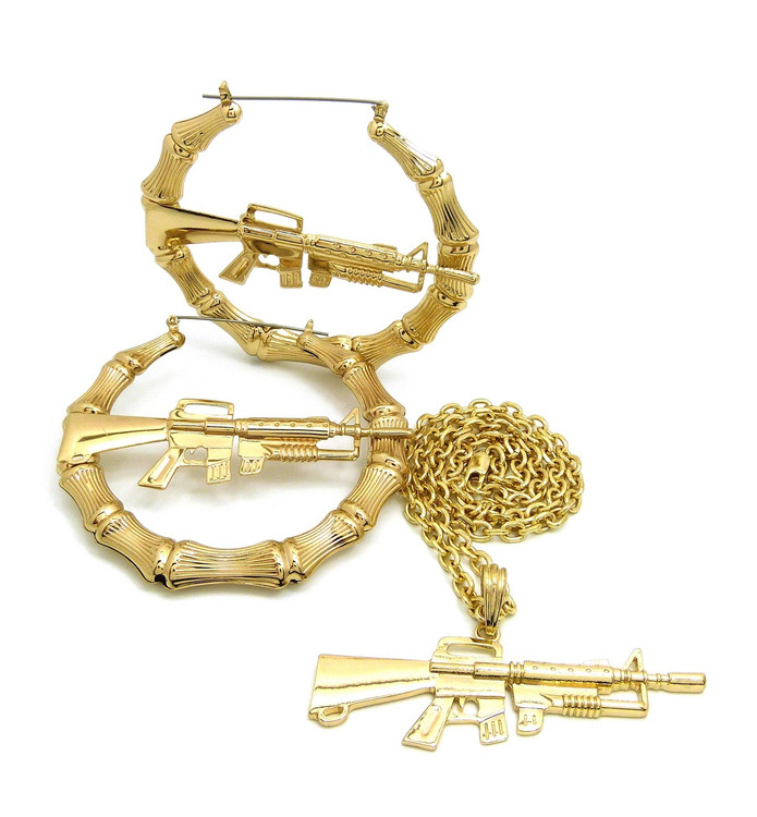 Gangsta Girl 14k Gold M16 Rifle Doorknocker Earrings Necklace Pendant Chain Set