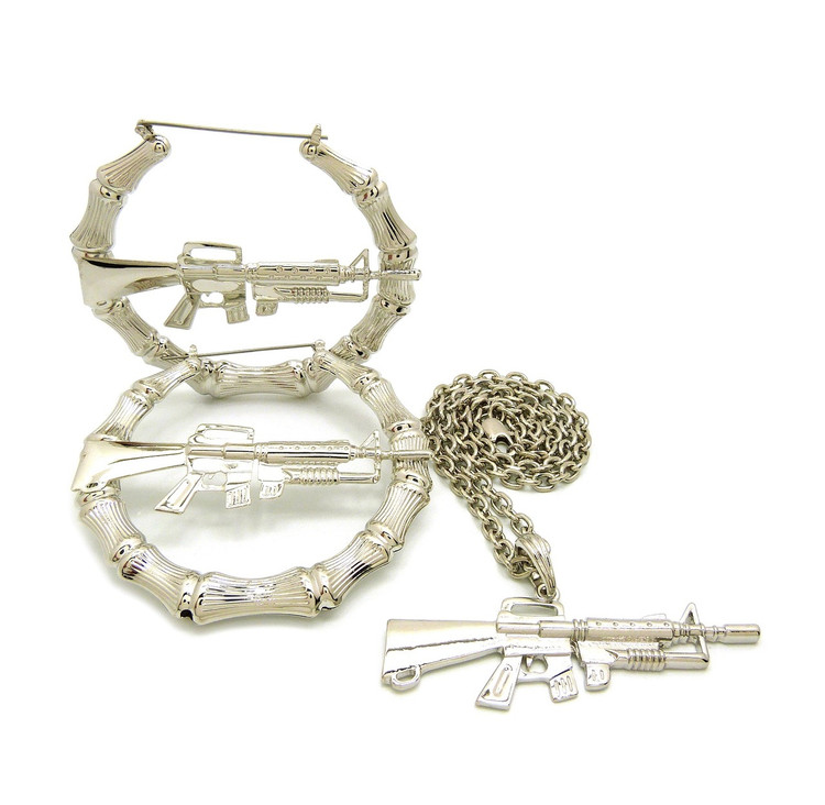 Gangsta Girl M16 Rifle .925 Silver Doorknocker Earrings Necklace Pendant Chain Set