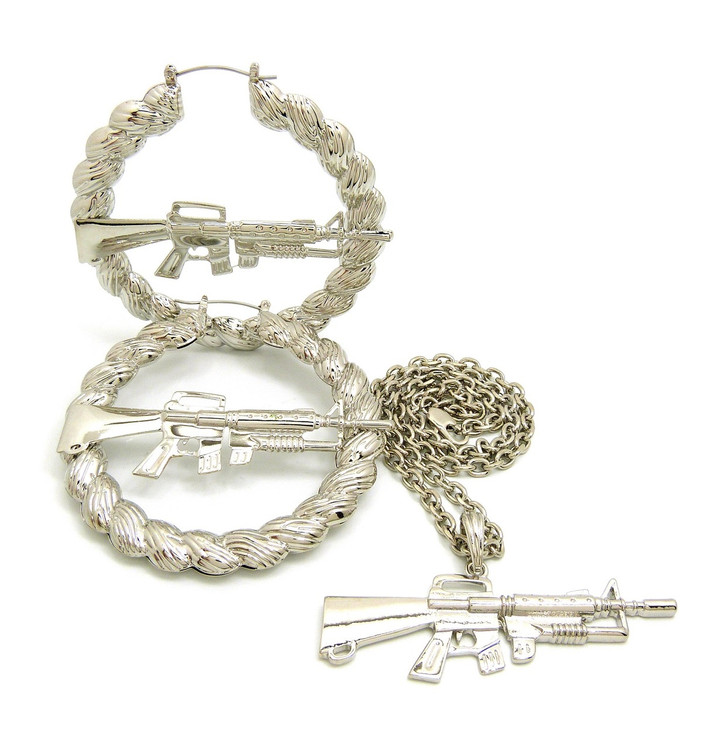 Gangsta Girl M16 Rifle .925 Silver Rope Doorknocker Earrings Necklace Pendant Chain Set