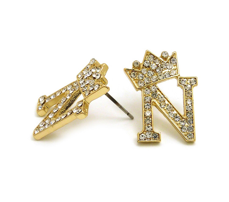 Gold Initial N Earrings