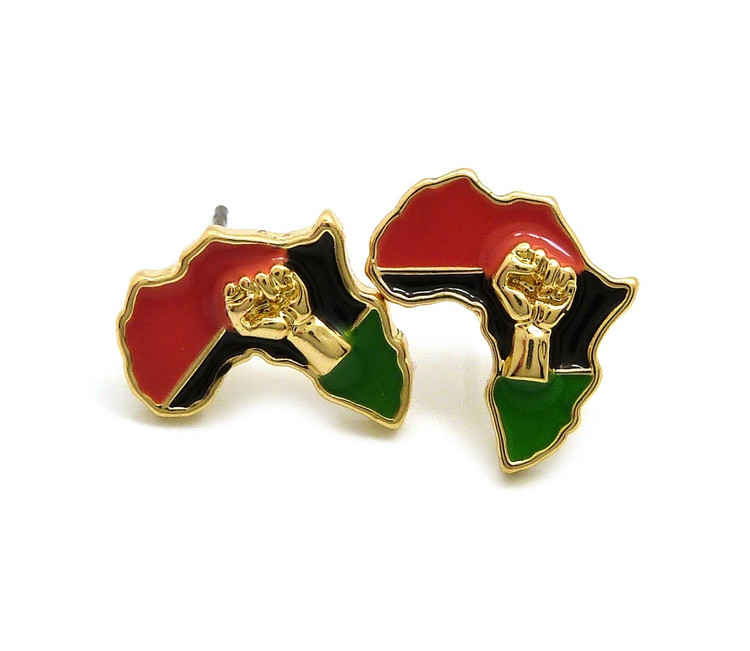 Black Power Fist Africa Continent Earrings