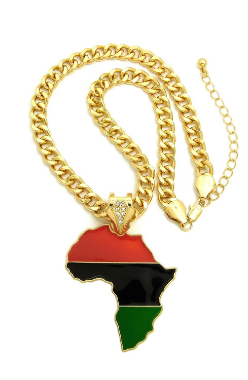 14k Gold Mother Africa Fashion Necklace