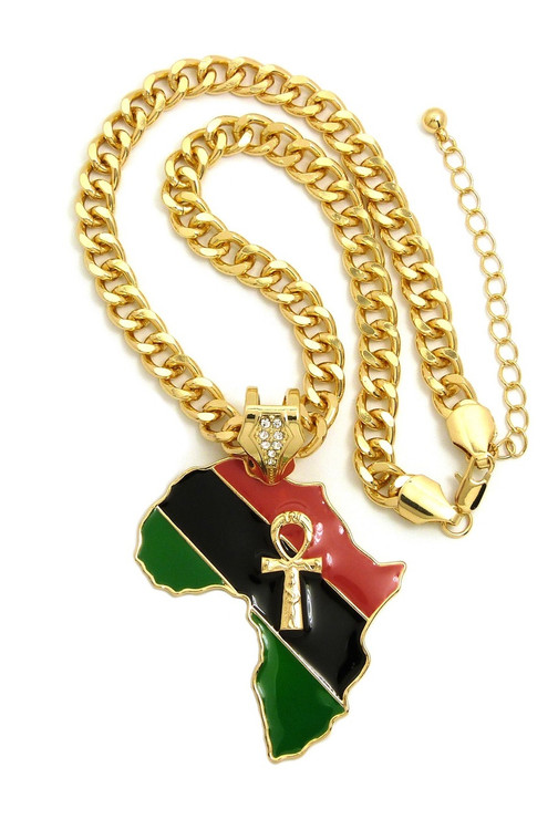 14k Gold Mother Africa Ankh Cross Fashion Necklace