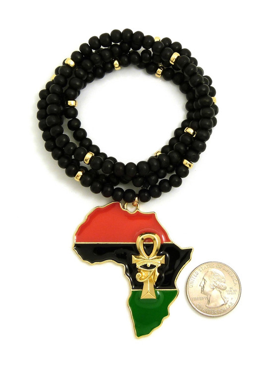 14k Gold Mother Africa Eye Of Heru Ankh Cross Wooden Bead Chain Pendant