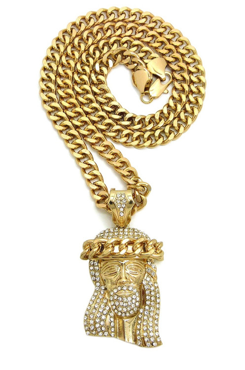 Iced Out Simulated Diamond Jesus Crown Wreath Cuban Link Pendant