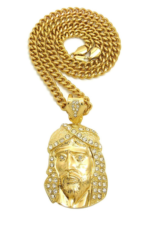Classic Jesus Piece Iced Out Crown Cuban Link Pendant