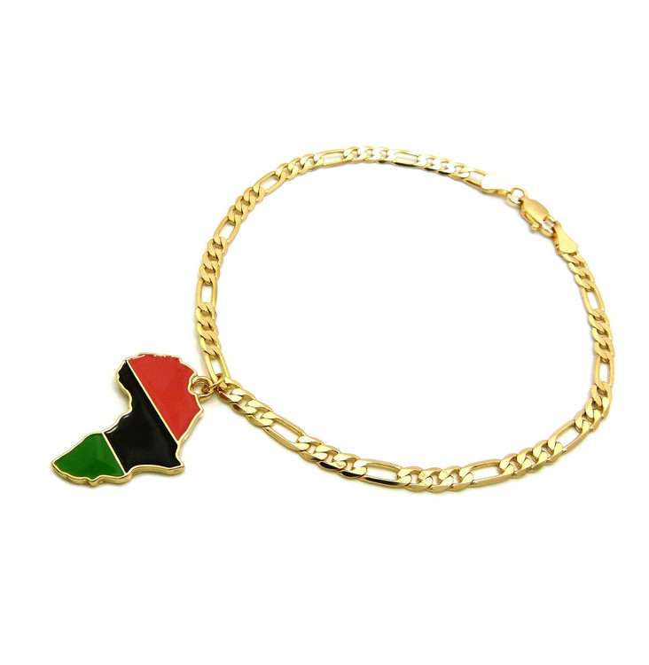 14k Gold Mother Africa Continent Ankle Bracelet