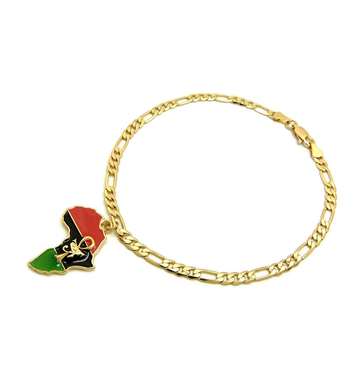 Eye Of Heru Ankh Cross 14k Gold Mother Africa Continent Ankle Bracelet