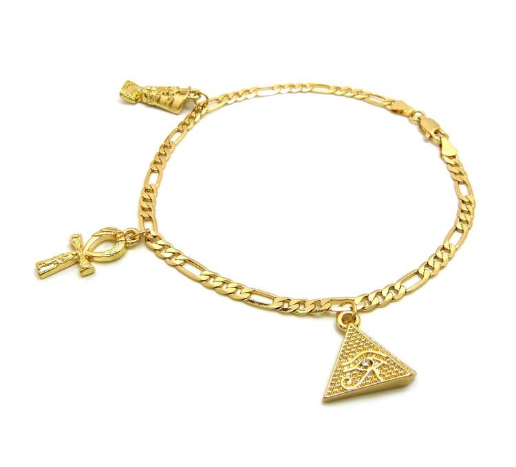 Nefertiti Pyramid Ankh Cross African Egyptian Ankle Bracelet