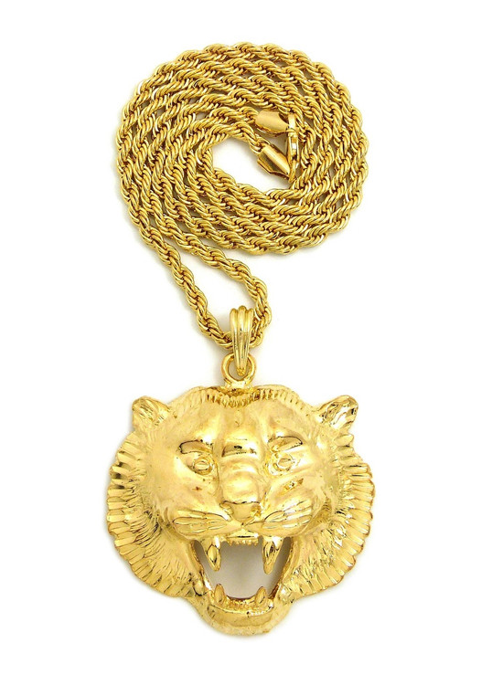 14k Gold Growling Panther Chain Pendant