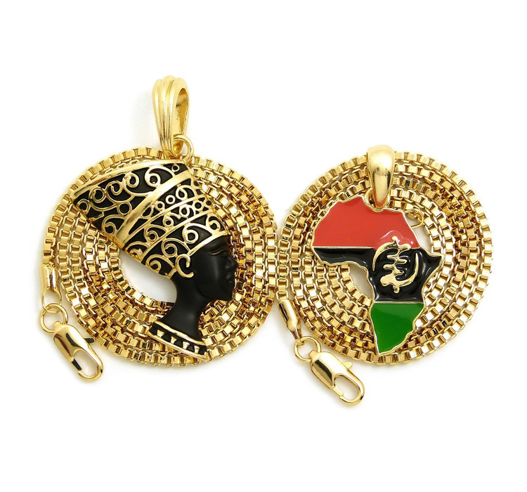 Black Queen Nefertiti Mother Africa Gye Nyame Chain Necklace Set