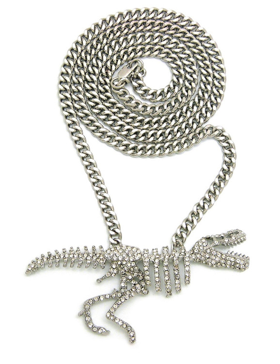 Silver Iced Out Simulated Diamond T-Rex Chain Pendant