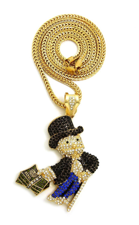 Gold Monopoly Black & Blue Iced Out Money Pendant