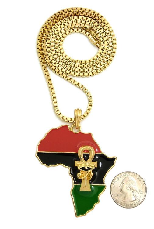 Mother Africa Eye Of Horus Ankh Cross 14k Gold Chain Pendant