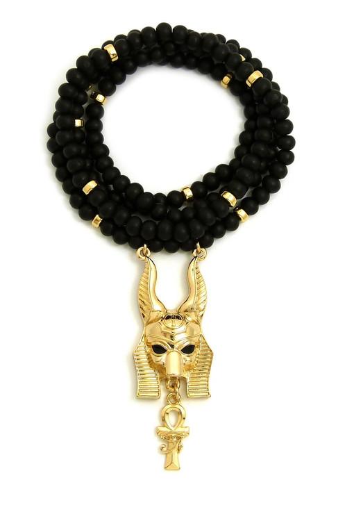 Anubis Eye Of Heru Ankh Cross Wooden Chain Pendant