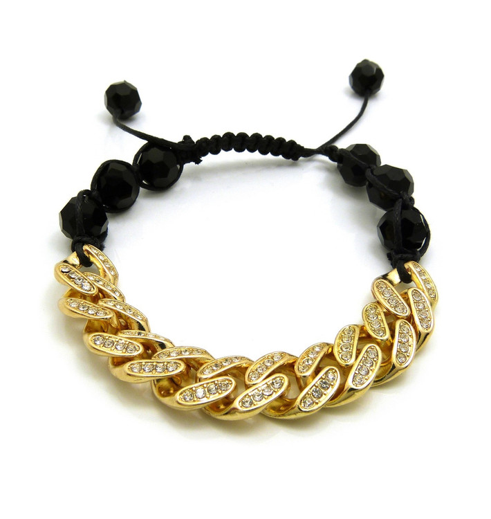 12mm Iced Out Cuban Link Black Disco Stone Bead Adjustable Knotted Bracelet