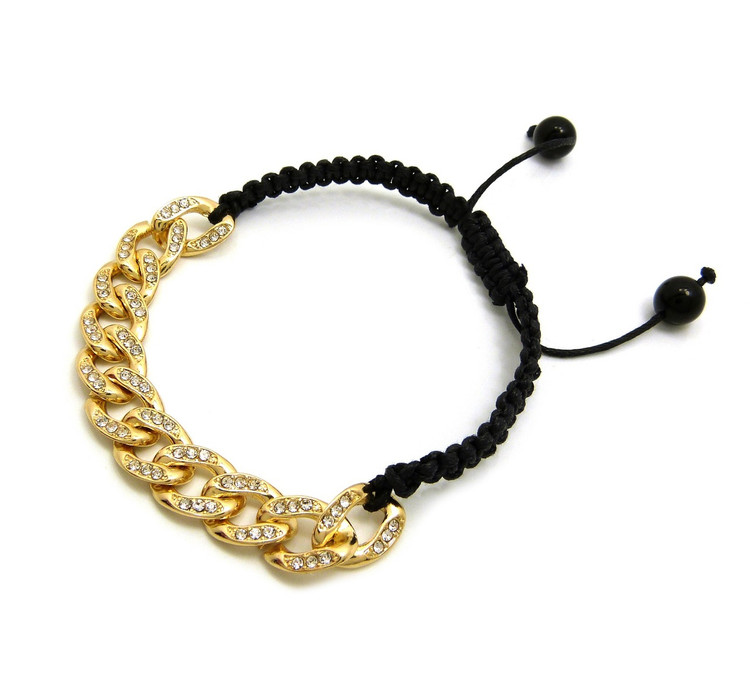 10mm Iced Out 14k Gold Cuban Link Black Cord Adjustable Knotted Bracelet