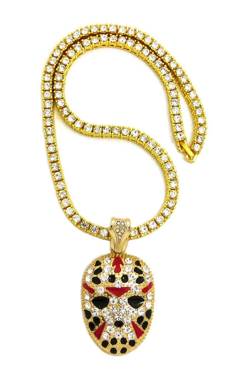 Iced Out 14k Gold Savage Hockey Mask Hip Hop Pendant