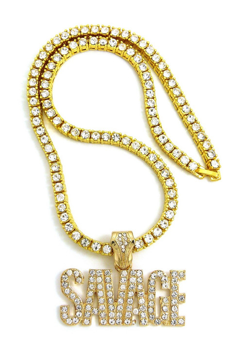 Iced Out 14k Gold Savage Hip Hop Pendant