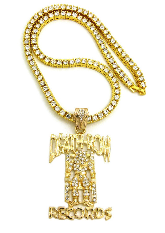 Hip Hop 14k Gold Death Row Records Inspired Tennis Chain Pendant