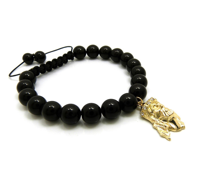 Jesus Piece 10mm Black Stone Adjustable Bead Bracelet
