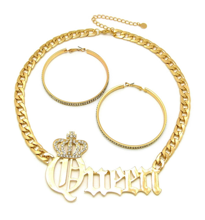 Queen 14k Gold Big Hoop Earrings Necklace Pendant Chain Set