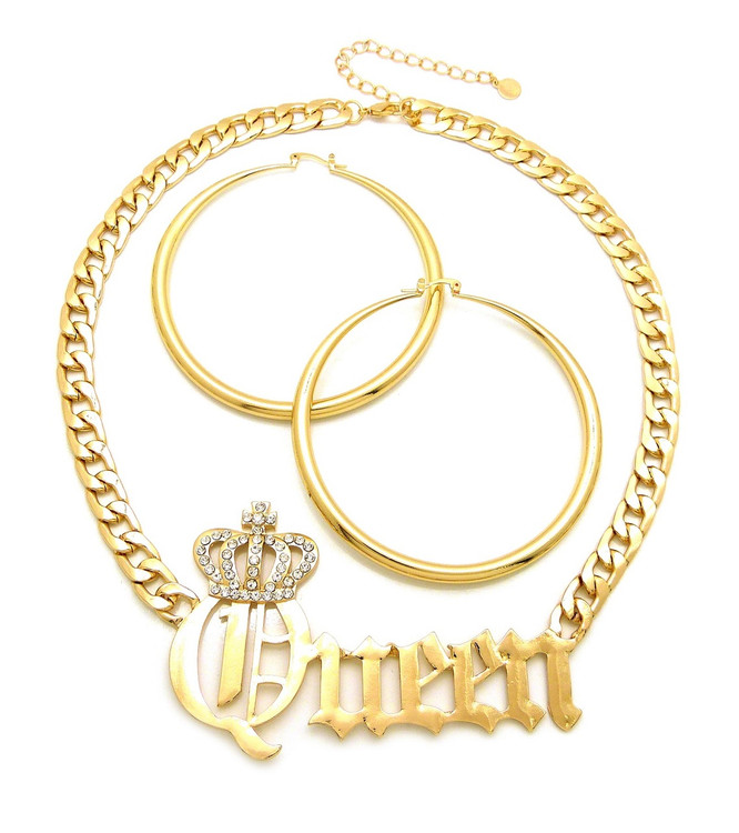 Queen 14k Gold Large Classic Earrings Necklace Pendant Chain Set