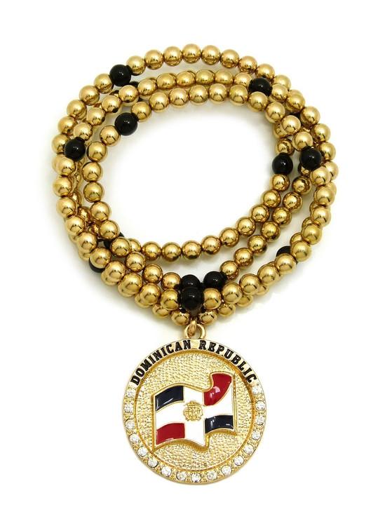 DOMINICAN REPUBLIC Flag Circle Simulated Diamond Bead Chain Pendant