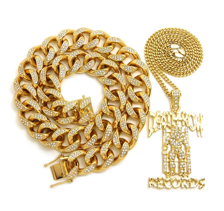 14k Gold Death Row Records Inspired Cuban Link Lab Stone Hip Hop Chain Pendant