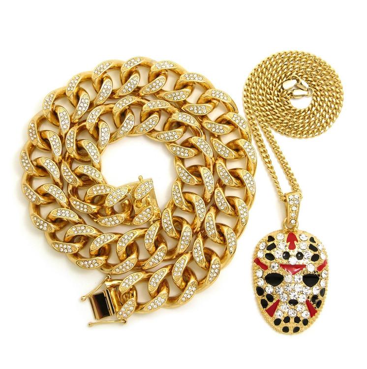 14k Gold Savage Hockey Mask Cuban Link Lab Stone Hip Hop Chain Pendant