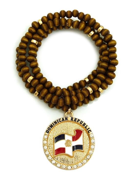 DOMINICAN REPUBLIC Flag Circle Simulated Diamond Wood Bead Chain Pendant