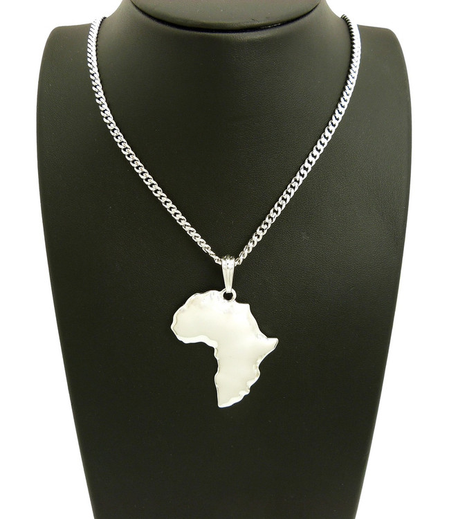 925 Sterling Silver Africa Continent Medallion Pendant
