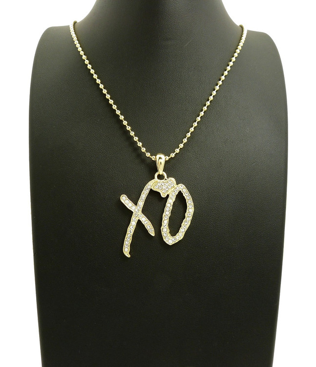 XO 14k gold Iced Out Simulated Diamond Chain Pendant