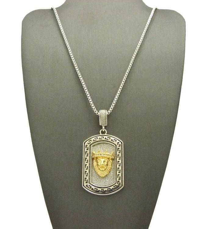 Silver 14k Gold Crushed Ice Lion Of Judah Hip Hop Dog Tag Necklace