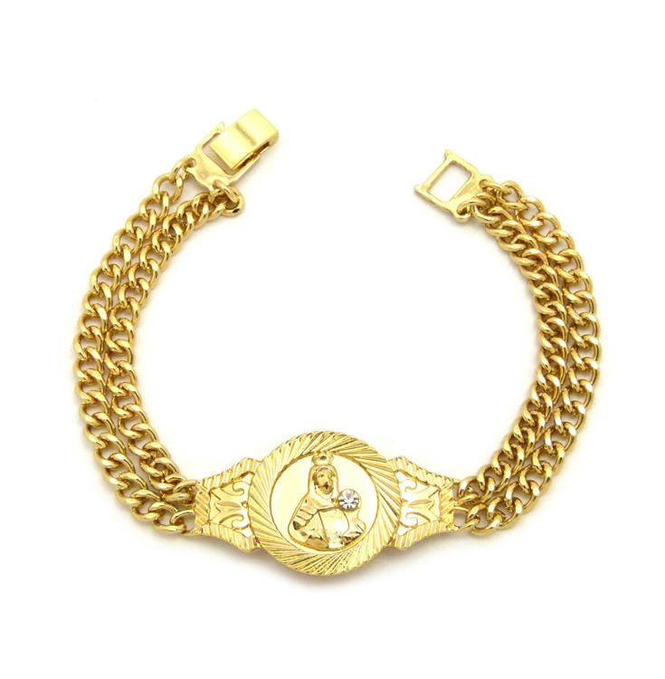 14k Gold Saint Barbara Simulated Diamond Stone Double Cuban Link Bracelet