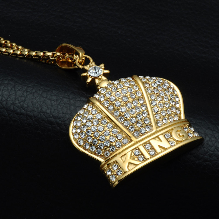 Hip Hop Bling Iced Out King Crown Necklace Full Stone 316L Stainless Steel Gold Necklaces