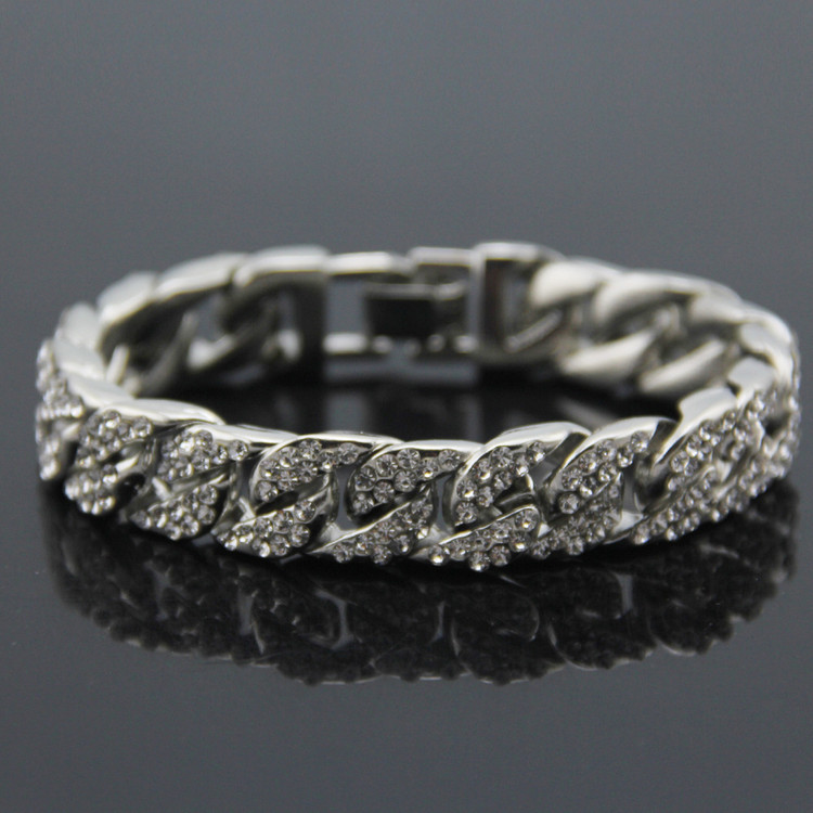 Hip Hop Bling Iced Out Full AAA Simulated Diamond Miami Cuban Link Chain Bracelets Men's Bracelet