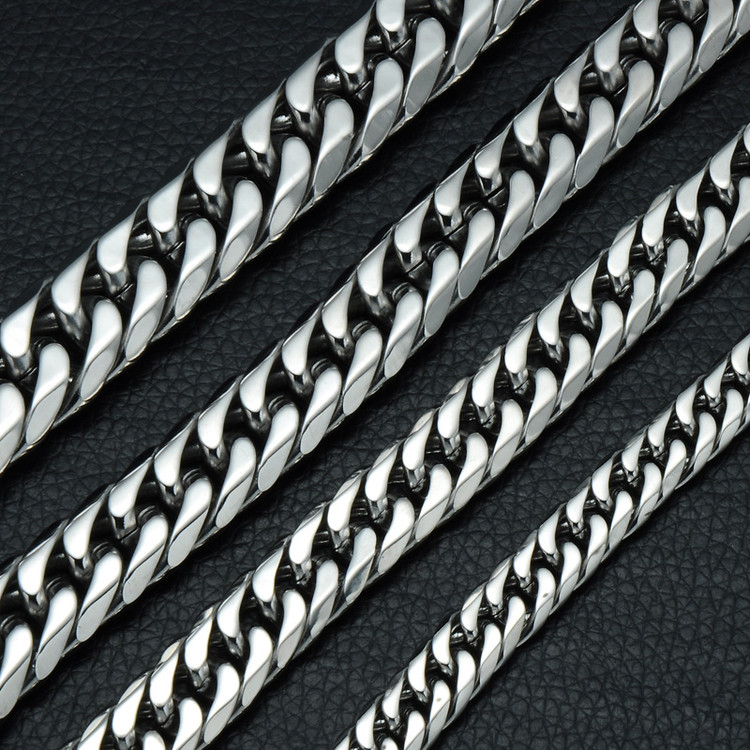 Hop Hop Rock Chain Link Double Layer Cuban Link Stainless Steel Bracelets