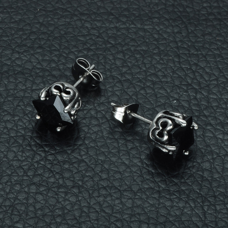 Mens 316L Stainless Steel Square Black Simulated Diamond Earrings