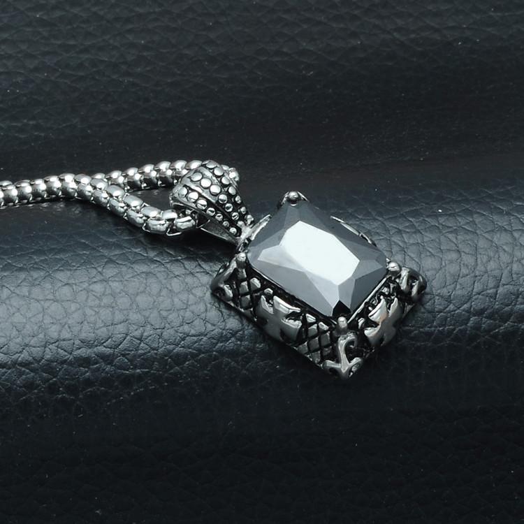 Men's Black Cross Pattern Stainless Steel Simulated Diamond Chain Pendant