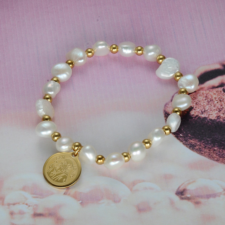 Ladies Natural Pearl Stainless Steel San Benito Figure Gold Bracelet