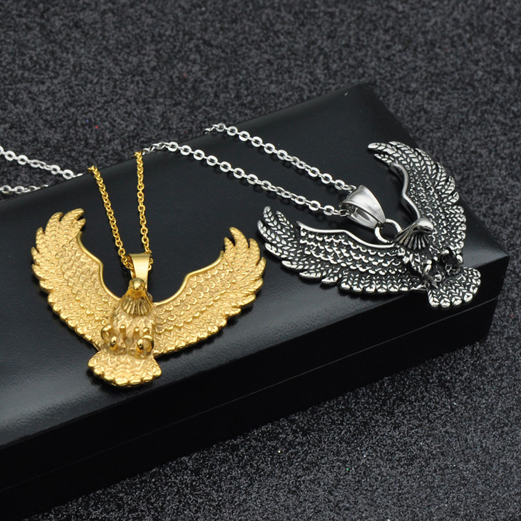 Mens 14k Gold Titanium Stainless Steel Soaring Eagle Wing Chain Pendant