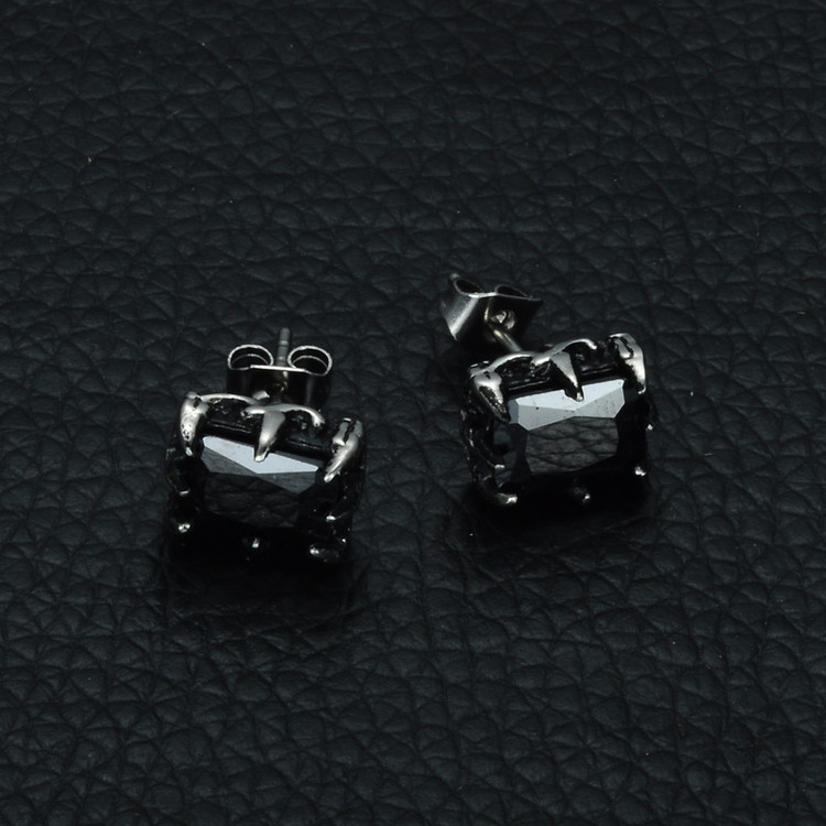 Mens Black Simulated Diamond Titanium Stainless Steel Square Iced Out Earrings
