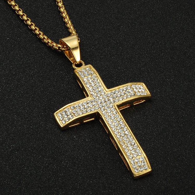 Hip Hop 3 Row Simulated Diamond 14k Gold Stainless Steel Cross Pendant Necklace